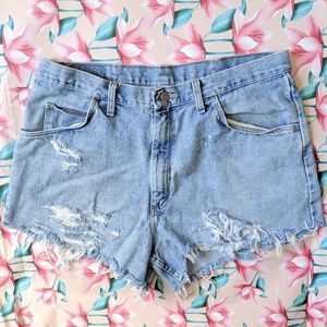 ✨Vintage distressed handmade Jean Short Cu…